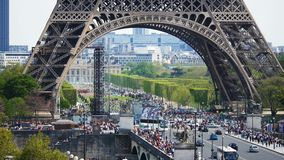 Tourism at Eiffel Tower in Paris in springtime real time 4k footage