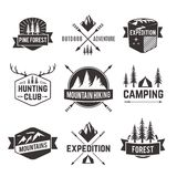 Tourism emblems labels set. Mountain hiking outdoor adventure travel agencies tourism graphic symbols emblems labels  collection black abstract isolated vector Royalty Free Stock Photography