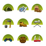 Tourism equipment icon set Stock Image