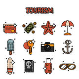 Tourism flat icons set Royalty Free Stock Photography