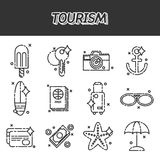 Tourism flat icons set Stock Photos