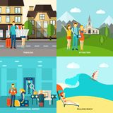 Tourism 4 flat icons square banner Stock Photo