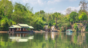 Tourism on the floating house rafting at the river Kwai Stock Images