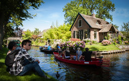 Tourism in Giethoorn stock photography