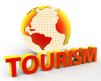 Tourism Global Represents Globalization Voyages And Tourist. Global Tourism Showing Destinations Planet And Earth Royalty Free Stock Photos