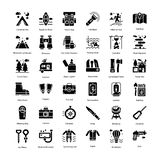 Tourism Glyph Icons Pack stock image