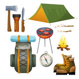 Tourism hiking camping flat pictograms collection Royalty Free Stock Image