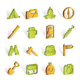 Tourism and hiking icons Royalty Free Stock Photo