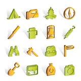Tourism and hiking icons. Icon set Royalty Free Stock Photo