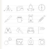 Tourism and hiking icons Stock Images