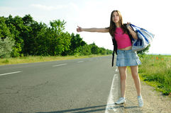 Tourism hitchhiking Royalty Free Stock Images