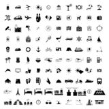 Tourism hotel simple black icons. Set. 100 symbols isolated on a white background Stock Illustration