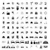 Tourism hotel simple black icons Stock Photography