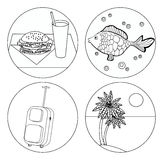 Tourism icon set Coloring food, palm, fish, luggage. Tourism icon set Coloring food, palm, fish, luggage vector illustration Royalty Free Stock Image