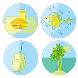 Tourism icon set food, palm, fish, luggage. vector illustration. Tourism icon set food, palm, fish, luggage vector illustration Royalty Free Stock Photo