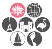 Tourism. Icon Set Royalty Free Stock Photography