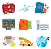 Tourism icons. Tourism. Aeroport and flight on plane Royalty Free Stock Photo