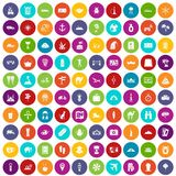 100 tourism icons set color. 100 tourism icons set in different colors circle isolated vector illustration vector illustration