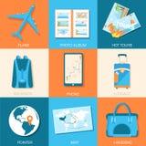 Tourism icons set concept. Tourism with fast Stock Photos