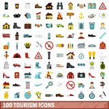 100 tourism icons set, flat style. 100 tourism icons set in flat style for any design illustration stock illustration
