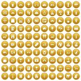 100 tourism icons set gold. 100 tourism icons set in gold circle isolated on white vector illustration royalty free illustration