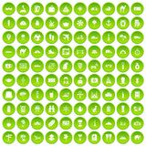 100 tourism icons set green. 100 tourism icons set in green circle isolated on white vectr illustration stock illustration