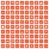100 tourism icons set grunge orange. 100 tourism icons set in grunge style orange color isolated on white background vector illustration Royalty Free Illustration