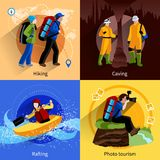 Tourism Icons Set. With hiking caving rafting and photo tourism symbols flat  vector illustration Stock Images