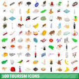 100 tourism icons set, isometric 3d style. 100 tourism icons set in isometric 3d style for any design vector illustration Royalty Free Stock Photography