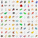 100 tourism icons set, isometric 3d style. 100 tourism icons set in isometric 3d style for any design vector illustration Stock Images