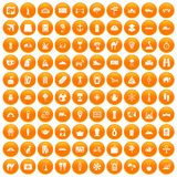 100 tourism icons set orange. 100 tourism icons set in orange circle isolated on white vector illustration Stock Illustration