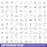 100 tourism icons set, outline style. 100 tourism icons set in outline style for any design vector illustration royalty free illustration