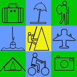 Tourism. The icons on the theme of travel and tourism Vector Illustration