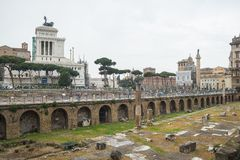 Tourism at the Imperial Fora in Rome, Italy Royalty Free Stock Photo