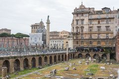 Tourism at the Imperial Fora in Rome, Italy Stock Photos