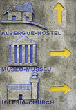 Tourism and indication. With arrows carved in stone, hotel and museum Royalty Free Stock Photo