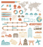 Tourism infographic. Tourism info graphic set with colorful icons. Vector design elements Royalty Free Stock Photography