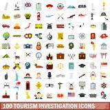 100 tourism investigation icons set, flat style. 100 tourism investigation icons set in flat style for any design vector illustration royalty free illustration