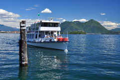 Tourism in Italy. Ferry boat at Lake (lago) Maggiore Stock Photography