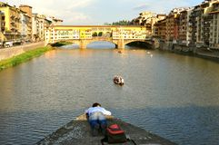 Tourism in Italy ,Florence city with the Old Bridge Stock Image
