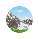 Tourism landscape circle icon with mountains. Vector illustration Royalty Free Stock Image