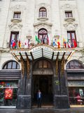 Tourism in Lima, the capital of Peru. Lima, Peru January 24th, 2018 : Gran hotel Bol var, This great hotel from the 1920s, which is a historical monument, is a 2 stock image