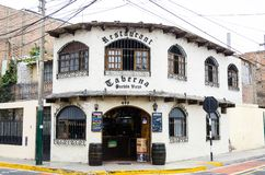 Tourism in Lima, the capital of Peru. Lima, Peru January 17th, 2019 : Pueblo Viejo of Surco tavern located 3 minutes walk from the main square of Surco Pueblo in royalty free stock image