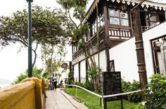 Tourism in Lima, the capital of Peru. Lima, Peru January 17th, 2019 : Restaurant Bar La Posada del Mirador, which is a forced way to the viewpoint of Barranco stock images