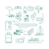 Tourism line art icon set. On white backgrund. Vector illustration Royalty Free Stock Photo