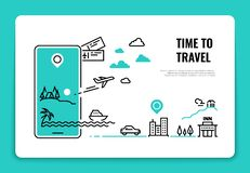 Tourism line concept. Travel destination summer vacation traveling agency hotel website airplane route concept. Tour vector illustration