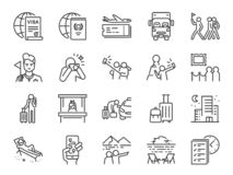 Tourism line icon set. Included icons as tourist, guide, traveler, vacation and more. Vector and illustration: Tourism line icon set. Included icons as tourist vector illustration