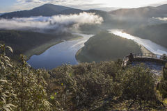 Tourism looks at Alagon River Meander with sunrise in the mornin Stock Photos
