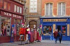 Tourism in Lyon historic center. LYON, FRANCE, March 19, 2018 : Tourists and gift stores in historic center of Lyon Stock Images