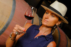 Tourism - Man tasting wine. In a cellar-Winemaker Stock Image